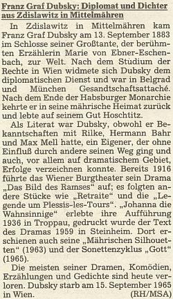 Medailon jejího prasynovce Franze hraběte Dubskyho (1883-1965), literáta jako ona, přítele Rilkeho a Bahra, na stránkách oficiálního orgánu krajanského sdružení