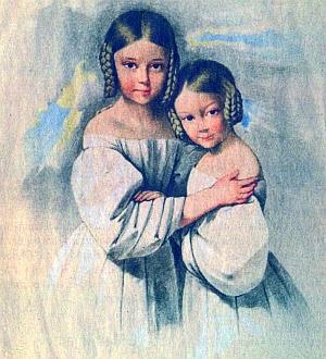 Se starší sestrou Friederikou v dětství