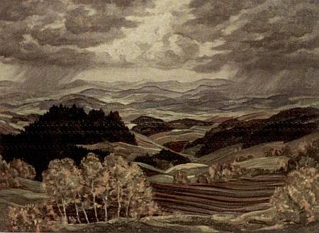 "Obraz lineckého malíře Hanse Pollacka (1891-1968) s názvem ""Landschaft in Oberdonau nach IV. Symphonie von Anton Bruckner"""