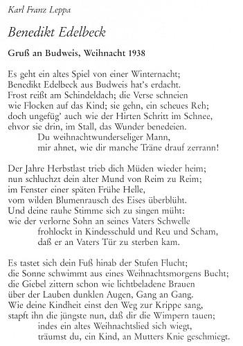 """Jedno z otištění básně Budweiser Weihnacht K. F. Leppy má pouhé tři sloky místo pěti, titul """"Benedikt Edelbeck"""", podtitul s vročením 1938 pak poukazuje na původnost této verze (viz i K. F. Leppa)"""