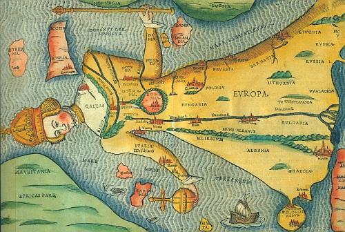 """Grafika z knihy Heinricha Buntinga (1545-1606) """"Itinerarium Sacrae Scripturae"""" (tj. Putování svatých"""", i česky vyšla roku 1592) zachycuje Evropu a na její hrudi (či srdci) Čechy ve věnci lesů"""