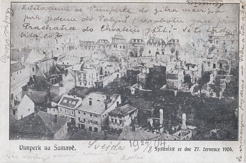 Přesvědčivá pohlednice Vimperka po osudném požáru 21. července roku 1904