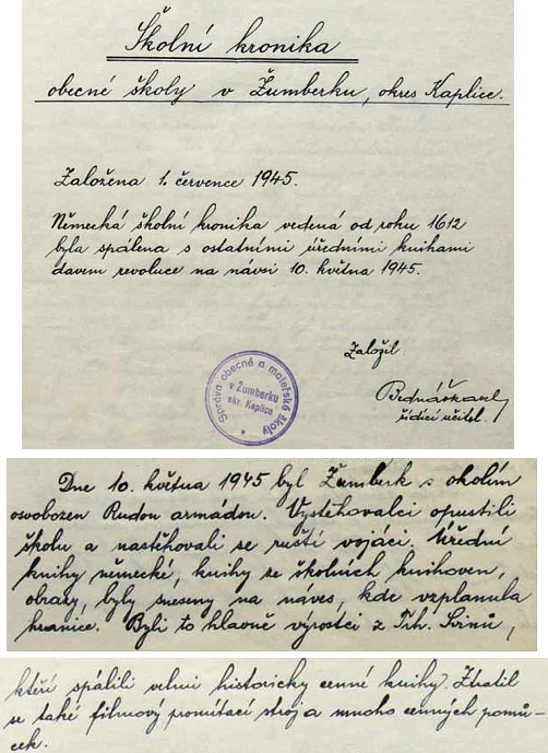 O konci německé školy v Žumberku podává cenný obraz česká školní kronika, založená v roce 1945