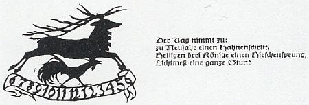 Do krajanského měsíčníku poslala tuto odněkud převzatou ilustrovanou průpovídku s textem, který by česky zněl asi takto: Na Nový rok o kohoutí krok, na Tři krále o jelení skok, na Hromnice o hodinu více