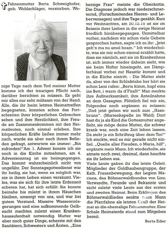 Je autorkou nekrologu své matky na stránkách krajanského měsíčníku