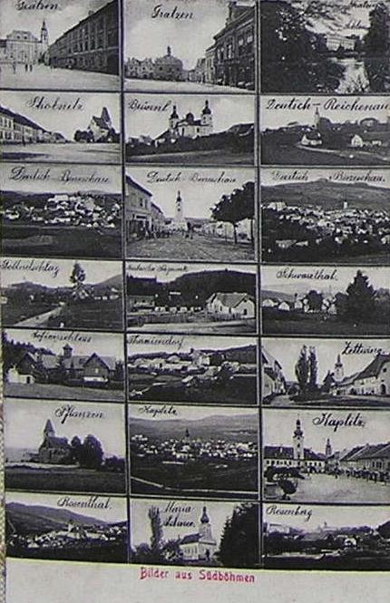 """Tady se Klení ocitlo na pohlednici nazvané """"Obrazy z jižních Čech"""" v samém středu nalevo"""