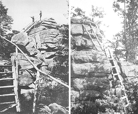 Někdejší skalní rozhledna na vrcholu Slepice...