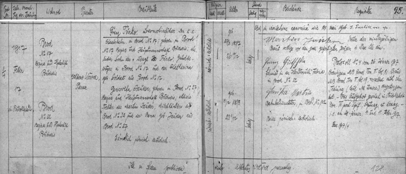 Záznam rudolfovské oddací matriky o zdejší svatbě Franze Turko s Genovefou Jaukerovou dne 17. února roku 1917
