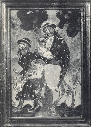 Svatá rodina na útěku, jak ji znázornila podmalba na skle z někdejšího Pohoří