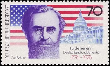 Německá poštovní známka připomíná přítele Franze Eggertha Carla Schurze (1829-1906), prvního rodilého Němce zvoleného do senátu USA