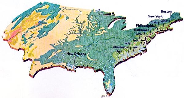 Území Spojených států amerických v roce 1776 se sporým osídlením východního pobřeží a mořem lesů a prérií dál k západu