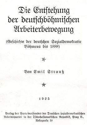 Titulní list Straußových dějin německé sociální demokracie v Čechách