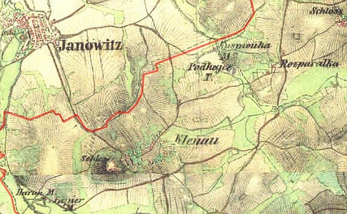 ... a poloha jeho mlýna v Janovicích nad Úhlavou vpravo dole na výřezu mapy z 19. století