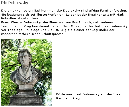 Připomínka vazeb Eggerthových na rod Dobrovských