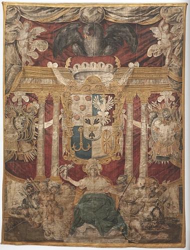 Eggenberský znak na interiérové textilii z římského paláce Ceri, uchovávané na zámku v Hluboké nad Vltavou