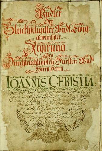 Stránka obecní kroniky kájovské oslavuje v roce 1693 šťastnou a věčně žádoucí vládu jejího knížecího manžela, vévody na Krumlově