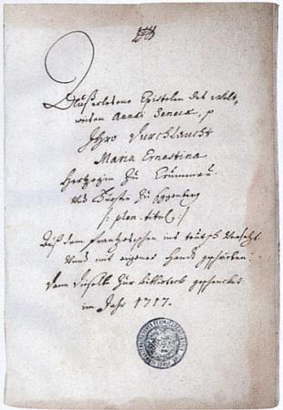 Titulní strana jejího překladu vybraných listů Senecových