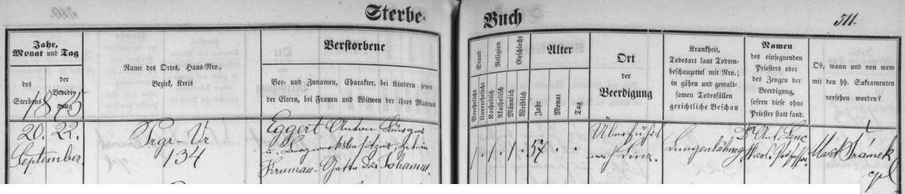 V českobudějovické matrice nacházíme tento zápis o jeho skonu a pohřbu