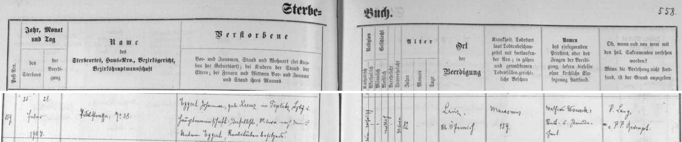 """Záznam českobudějovické matriky o úmrtí Johanny Eggertové 25. února roku 1904, vdovy po Antonu Eggertovi, """"majiteli realit"""""""