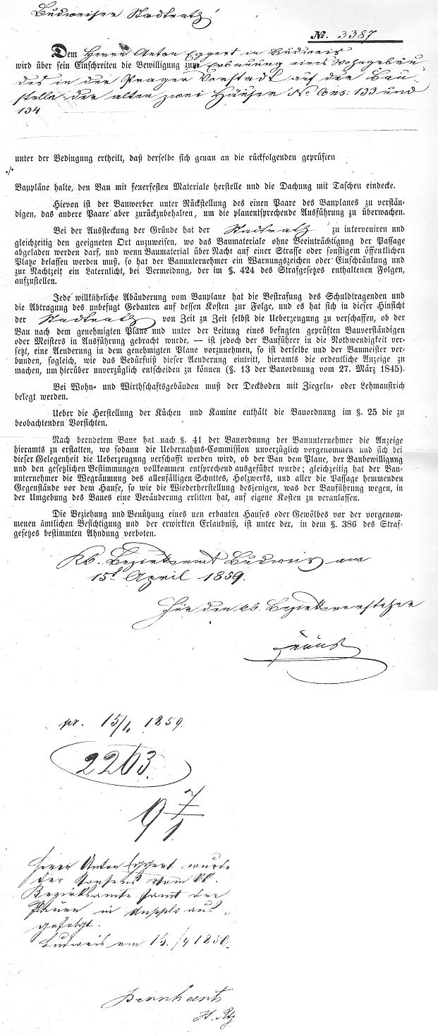Podání okresního úřadu (Bezirksamt) v Českých Budějovicích z 15. dubna roku 1859 pořadové číslo 3387