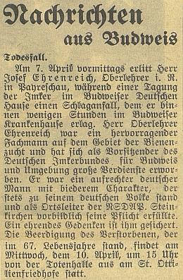 Zpráva o jeho úmrtí českobudějovickém německém listu