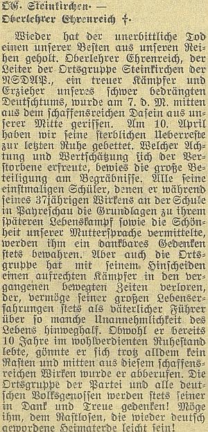 Nekrolog místní skupiny NSDAP v Kamenném Újezdě
