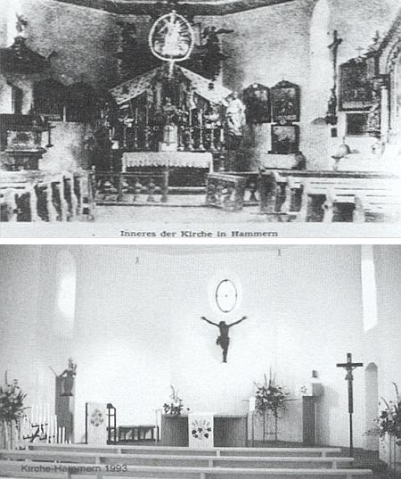 Vnitřek kostela v Hamrech roku 1946 a 1993
