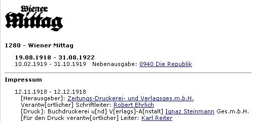 Impressum listu Wiener Mittag s jeho jménem
