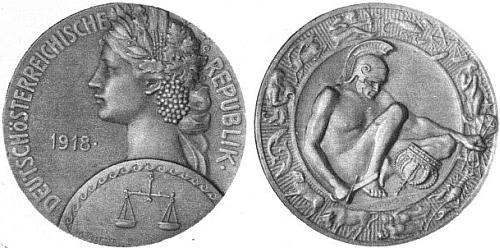 """Líc a rub prvé medaile """"Republiky Deutschösterreich"""" jak ji navrhl sochař Weinberger     a na svých stránkách reprodukoval v únoru 1919 časopis Wiener Bilder"""