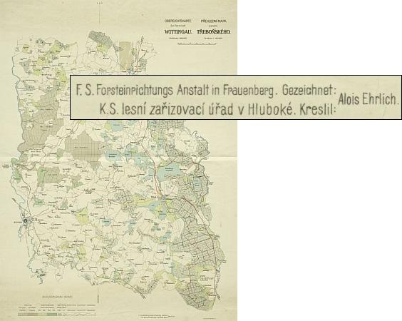 ... a jím nakreslená mapa schwarzenberského panství Třeboň (klikněte pro digitalizovanou mapu)