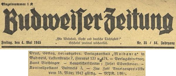 Záhlaví a tiráž posledního čísla Budweiser Zeitung