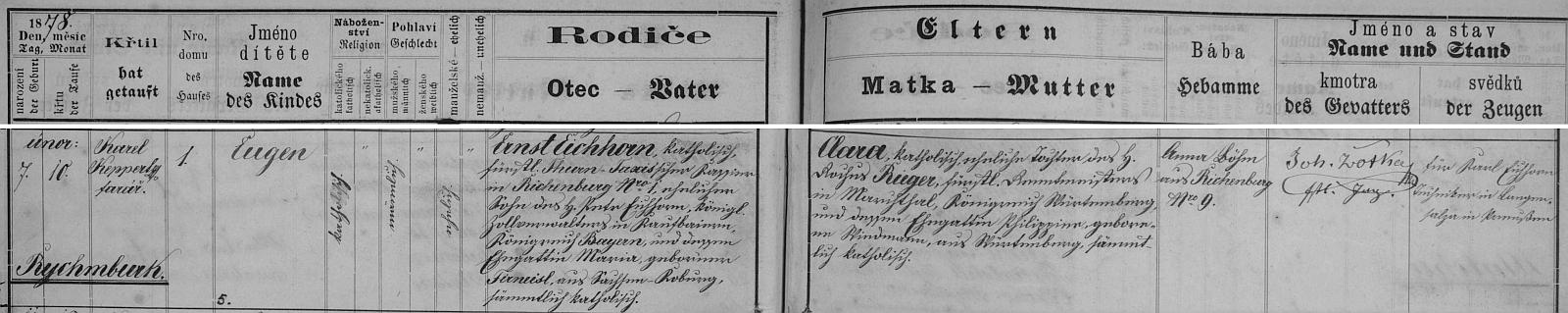 Záznam o jeho narození v matrice farní obce Předhradí