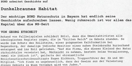 Odstavec z textu Georga Etscheita o nacistickém postoji Eichhornově ve funkci okresního pověřence ochrany přírody a vedoucího oddílu SA
