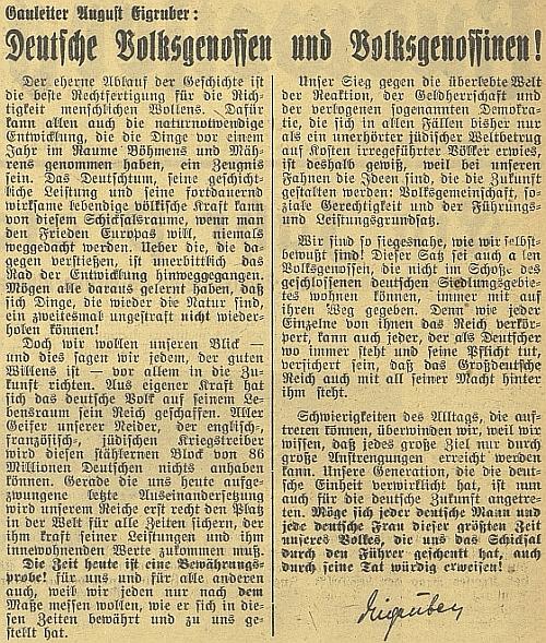 Jeho text uveřejněný 16. března 1940 v Budweiser Zeitung