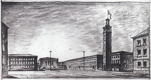 """Nacistická vize Senovážného náměstí (po válce Stalinova, za """"normalizace"""" ozdobeného Leninovou sochou) v náčrtu neznámého autora"""