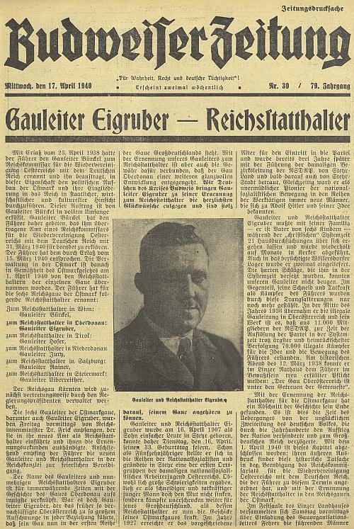 """Na titulní straně českobudějovického německého listu ke jmenování """"říšským místodržícím župy Horní Dunaj"""""""