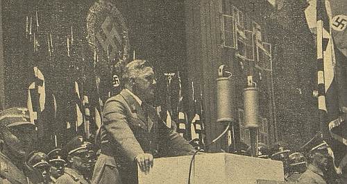 """Při projevu na """"Krajském dnu NSDAP"""" 3. června 1939 v Českých Budějovicích"""