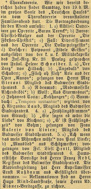 """Jeho druhá žena Valerie von Linten zpívala podle této zprávy v prosinci roku 1908 jako členka zdejšího městského divadla na rodinném večeru židovského sdružení """"Chanukaverein"""""""