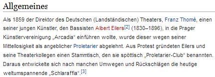 """Jeho otec a jmenovec byl v Praze zakladatelem proslulého sdružení """"Schlaraffia""""     (původně posměšně zvaného """"Proletarier-Club"""")"""
