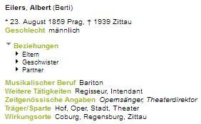 Jeho záznam v bavorském hudebním lexikonu
