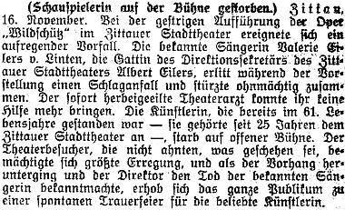 Poslední zmínka Albertu Eilersovi juniorovi v rakouském tisku je spojena s touto zprávou o smrti jeho ženy Valerie přímo na jevišti žitavského divadla, jehož byl tehdy ředitelem