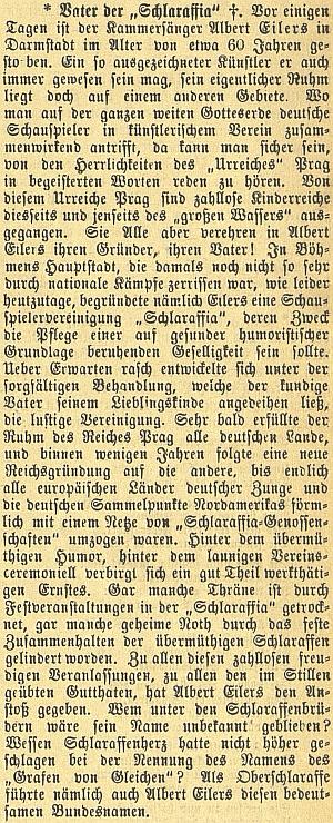 """Nekrolog """"otce Schlaraffie"""" Alberta Eilerse """"staršího"""" na stránkách českobudějovického německého listu"""