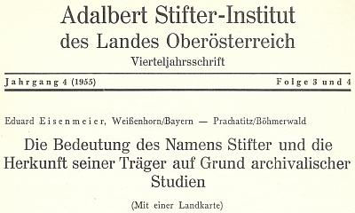 Záhlaví jeho textu o významu příjmení Stifter ve čtvrtletníku lineckého Institutu Adalberta Stiftera