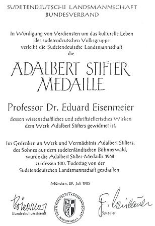Diplom k udělení medaile Adalberta Stiftera Sudetoněmeckým krajanským sdružením v roce 1985