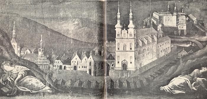 Nejstarší vyobrazení rodného města na oltáři hřbitovního kostela sv. Rocha v Březnici z roku 1652