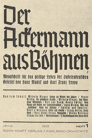 Hned v prvém čísle prvého ročníku časopisu, který vedli Hans Watzlik a Karl Franz Leppa, byla připomenuta recenzí jeho poezie včetně překladů básní Antonína Sovy