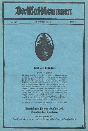 """Obálka (1924) 1. čísla 3. ročníku časopisu """"Der Waldbrunnen"""", sjeho básněmi, životopisem a bibliografií - zbývá dodat, že měsíčník řídil Karl Franz Leppa"""