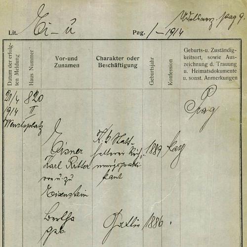 Podle této pražské policejní přihlášky bydlil se svou ženou Berthou (*1886) roku 1914 na Václavském náměstí vPraze