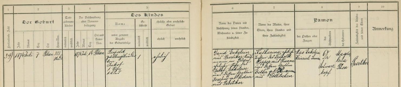 Záznam o jeho narození a obřízce v plzeňské židovské matrice