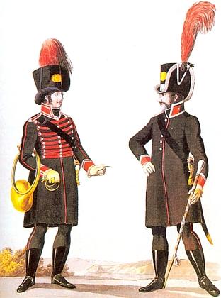 Uniformy hornisty a kapelníka rakouského landwehru kolem roku 1809